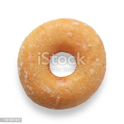 Single plain ring donut with sugar glaze isolated on white with path