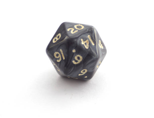 Single plastic 12 sided dice isolated on white stock photo