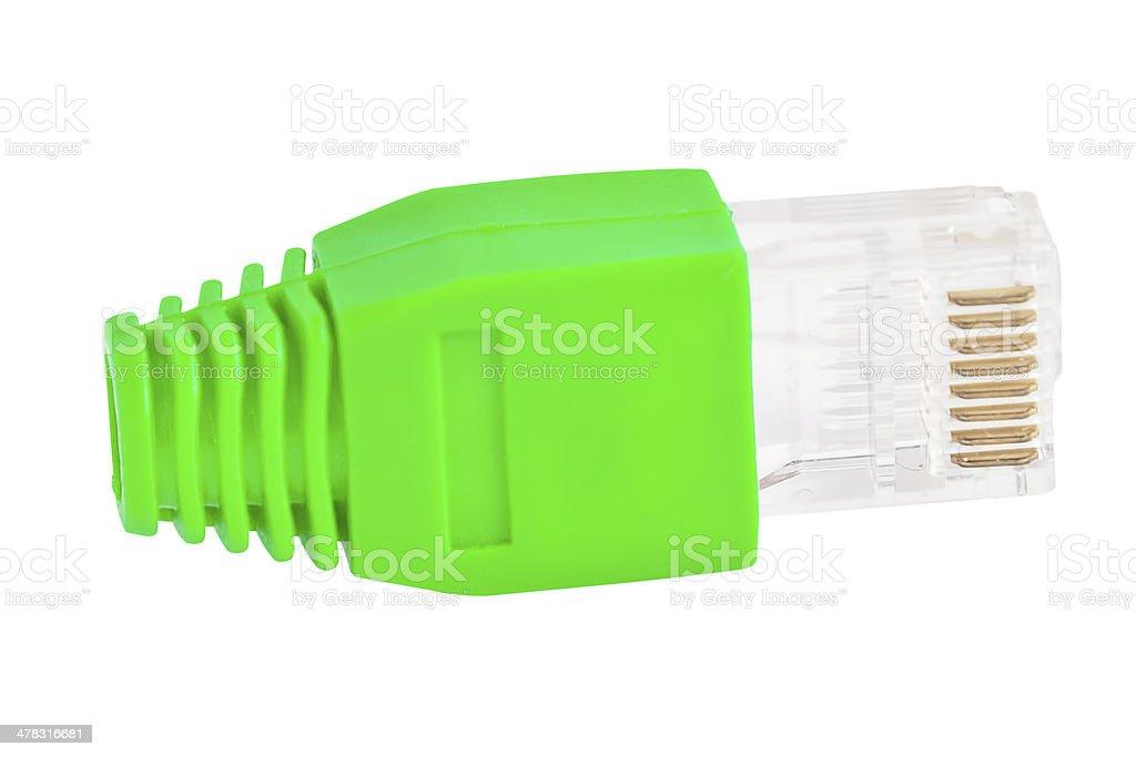 RJ45 - Single Plug Fluo Green (side view) stock photo