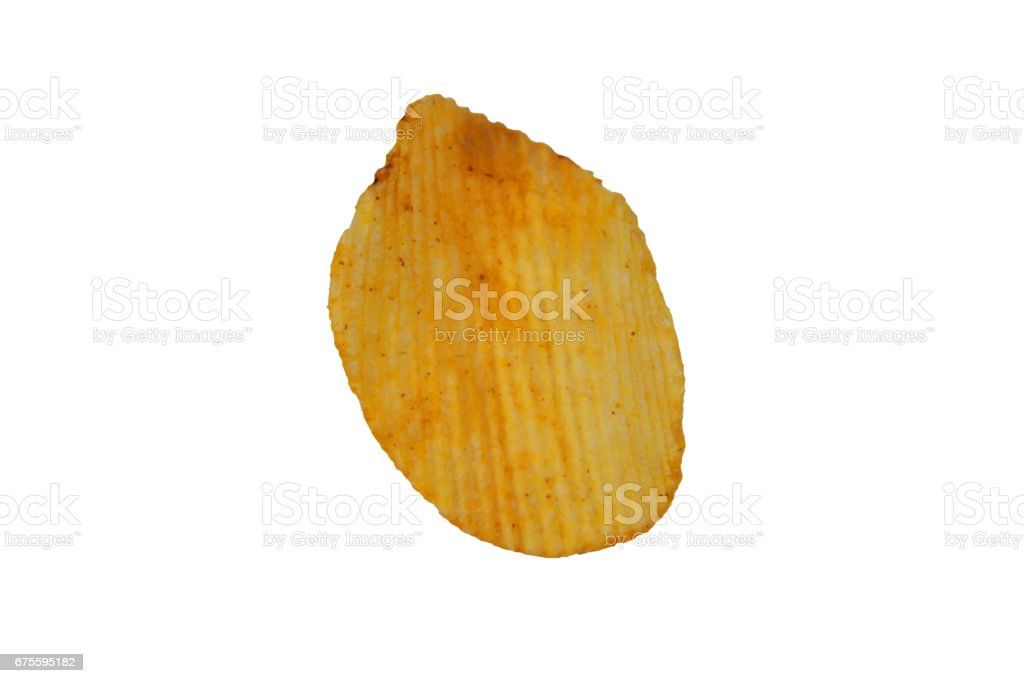 Single potato chip isolated on white background photo libre de droits