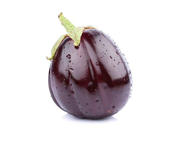 A single purple eggplant on a white background stock photo