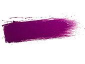 Single purple paint brush stroke on white background