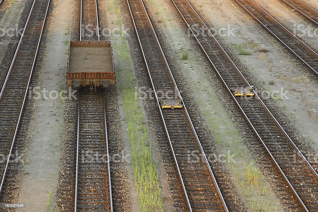 Single Railroad Wagon on Parallel Tracks royalty-free stock photo
