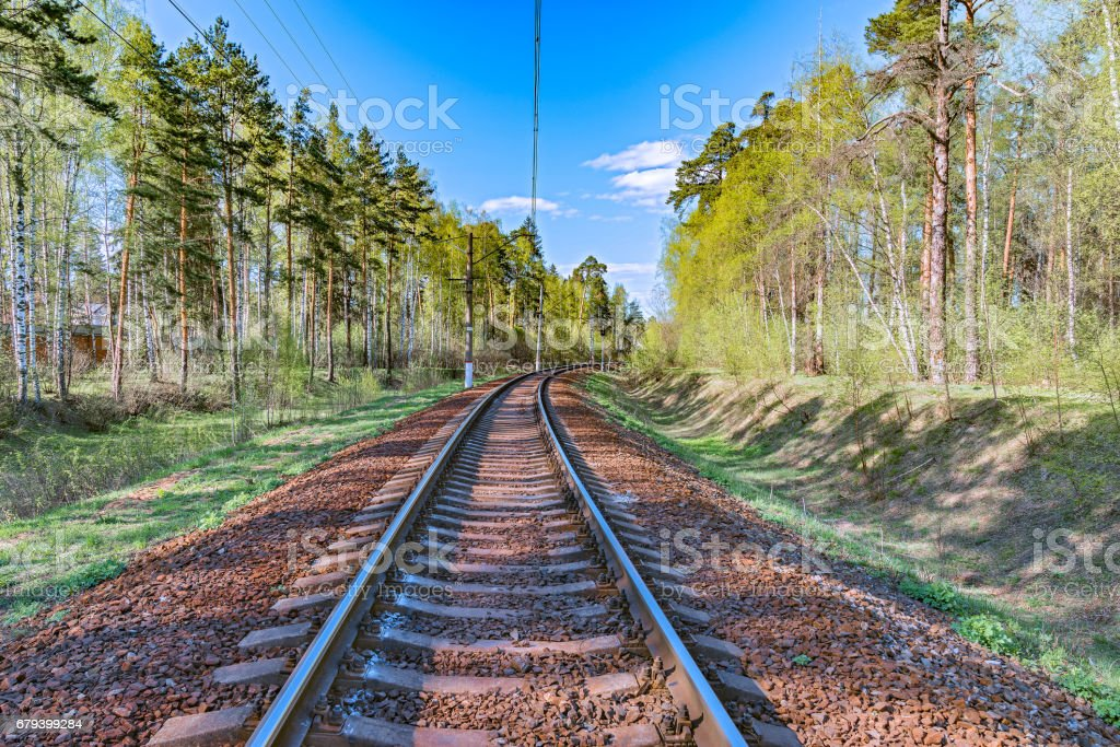 Single railway line. royalty-free stock photo