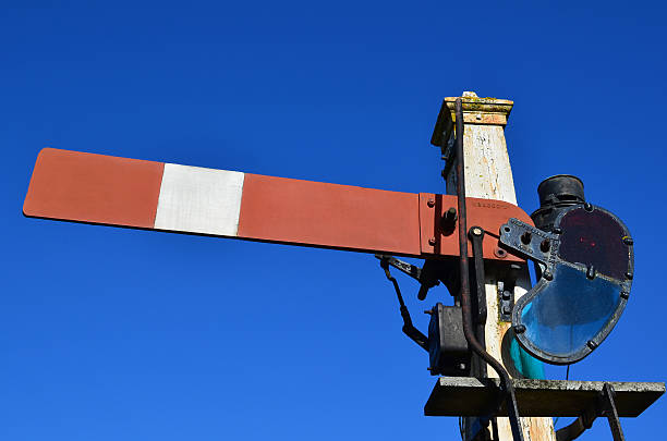 single railway signal. - railway signal stock photos and pictures