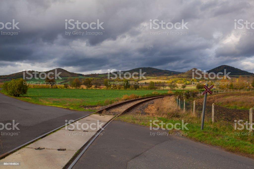 Single railway track royalty-free stock photo