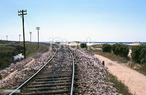 rail line disappears into distance, with telephone line beside it, red gravel pathway too