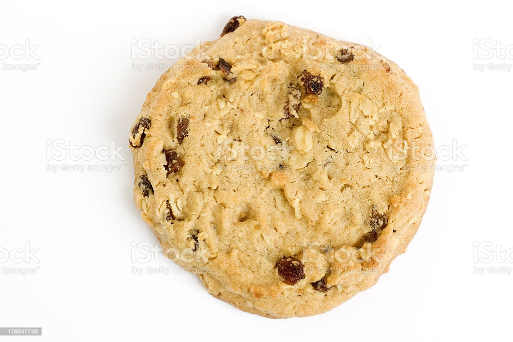 single raisin oatmeal cookie stock photo