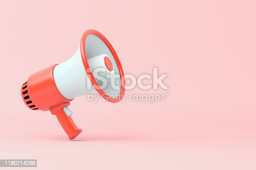 1055944594 istock photo Single red and white electric megaphone with a handle stands on a pink background 1180214258