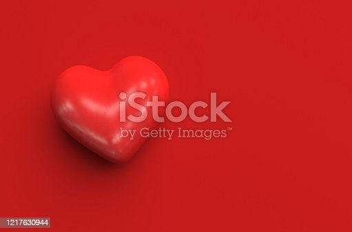 Single red heart shape on a red background. Top view. Monochrome illustration with copy space. 3D render,