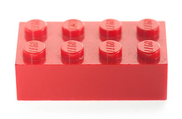 single, red, lego block brick - lego stockfoto's en -beelden