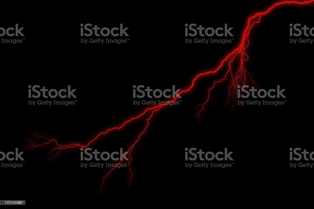 Single Red Lightening Strike - Storm royalty-free stock photo