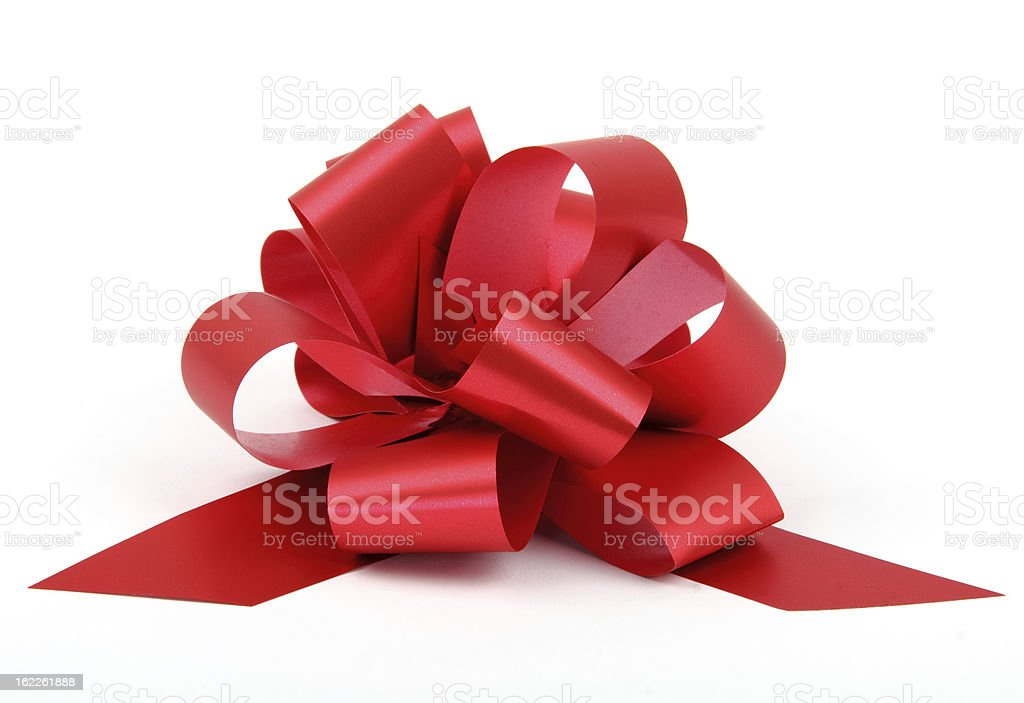 Single red ribbon with bow stock photo