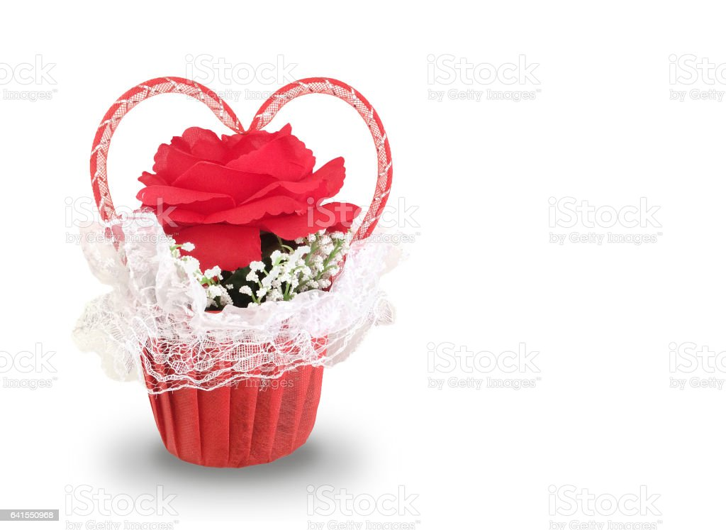 Beautiful Single Red Rose Flower Isolated Royalty Free: Single Red Rose And Decorated With Heart Ribbon On