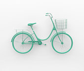 Single retro bicycle painted in monochrome turquoise. Isolated on white background. Abstract concept.