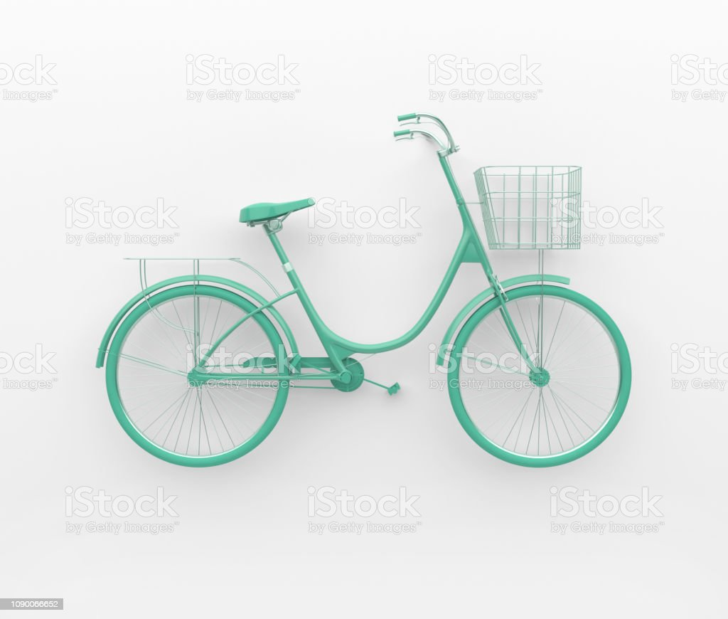 Single retro bicycle painted in monochrome turquoise. Isolated on white background. Abstract concept. stock photo