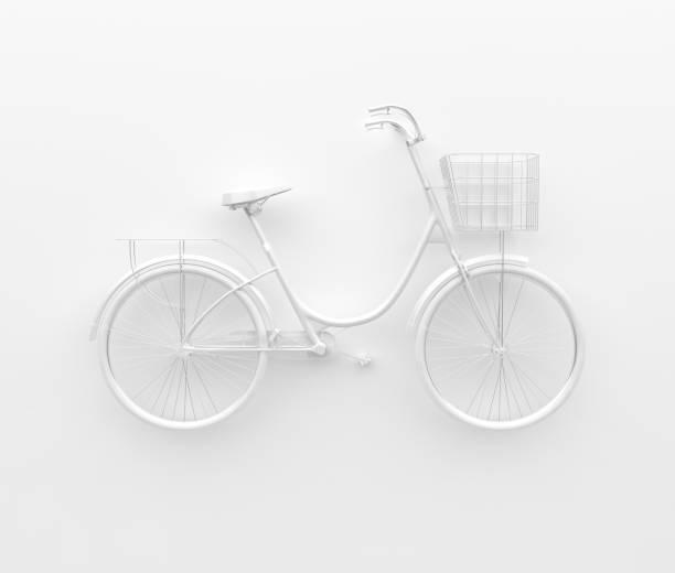 vélo rétro unique peint en camaïeu blanc. isolé sur fond blanc. concept abstrait. - monochrome image teintée photos et images de collection