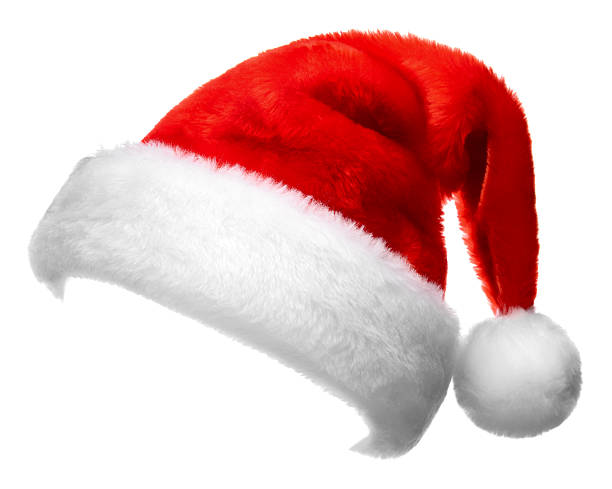 single santa claus red hat isolated on white background stock photo - Santa Claus Red