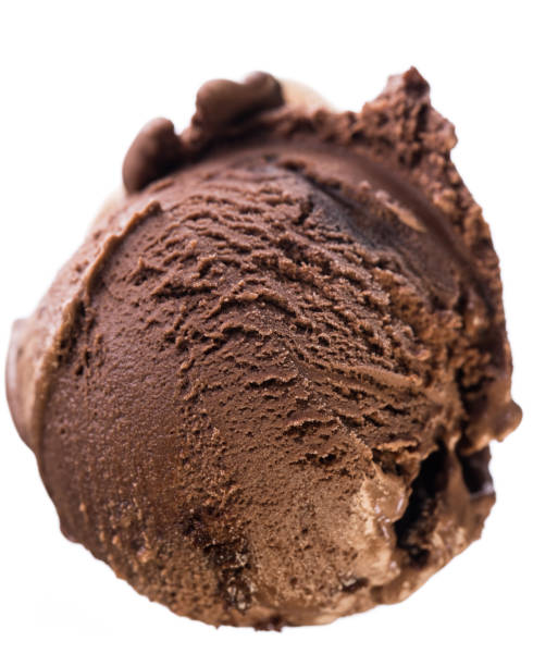 Single scoop of chocolate - brownie ice cream isolated on white background - birds eyes view Single scoop of chocolate - brownie ice cream isolated on white background - birds eyes view  real edible icecream, no artificial ingredients used! handful stock pictures, royalty-free photos & images