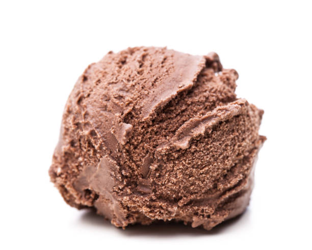 single scoop of chocolate ice cream isolated on white background - cucchiaio dosatore foto e immagini stock
