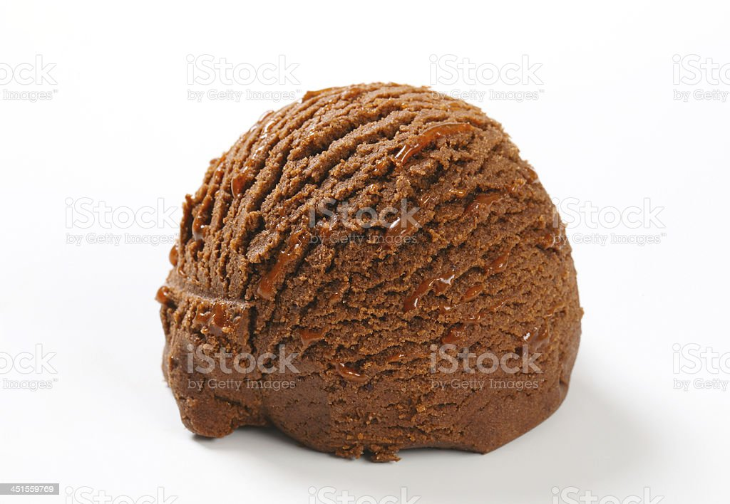 A single scoop of chocolate ice cream on a white background  stock photo