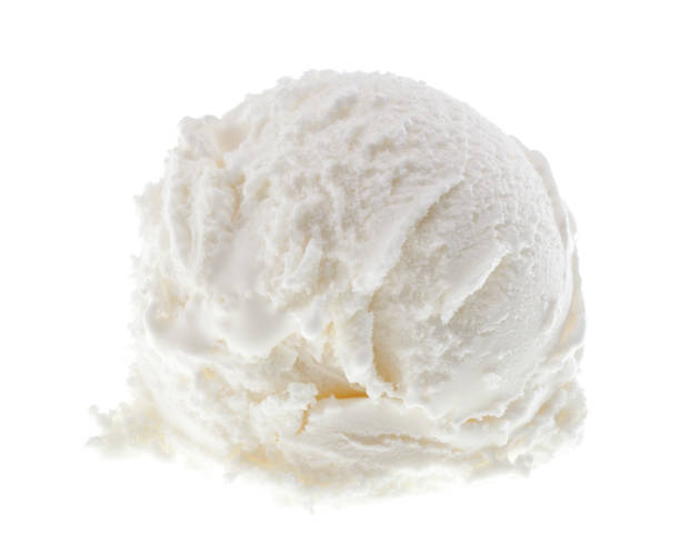 Single scoop of yoghurt ice cream isolated on white background real edible icecream - no artificial ingredients used scooping stock pictures, royalty-free photos & images