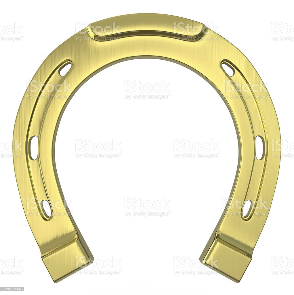 Single scratched golden horseshoe stock photo