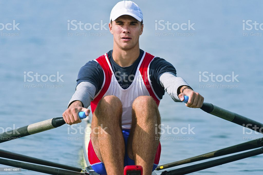Single scull rowing competitor royalty-free stock photo