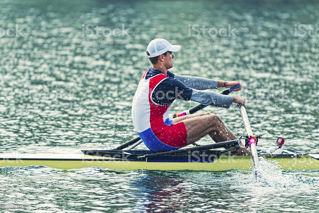 Single scull rowing royalty-free stock photo