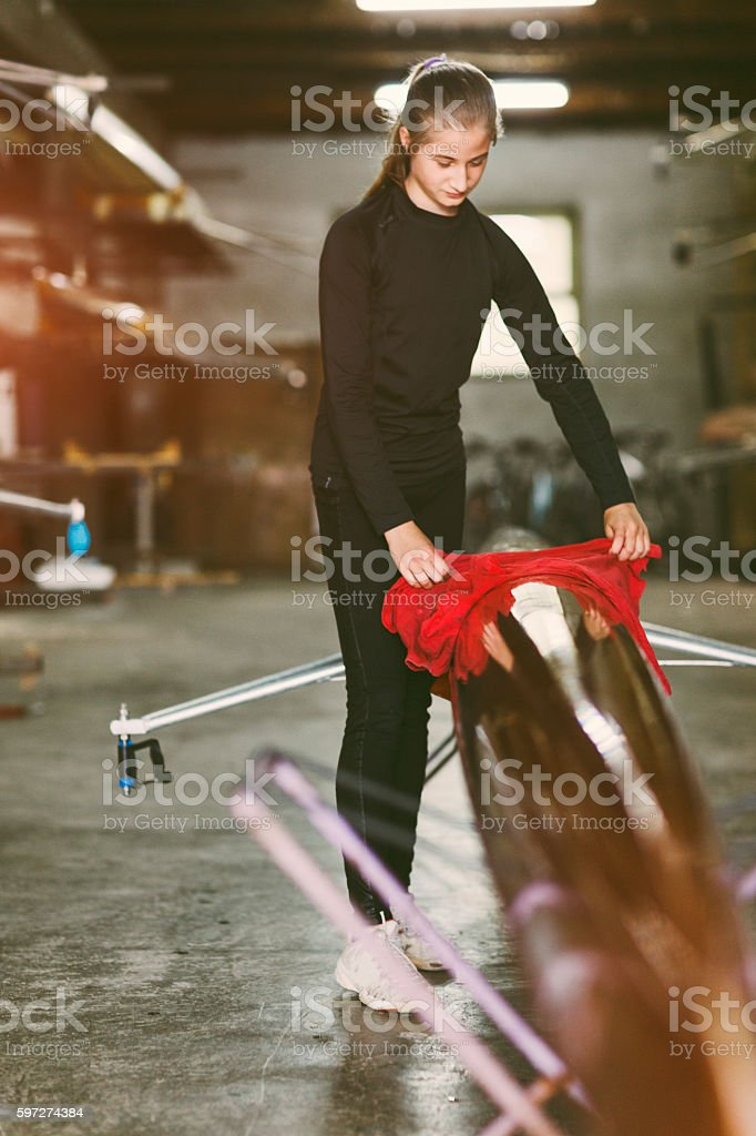 Single Scull Rowing. royalty-free stock photo