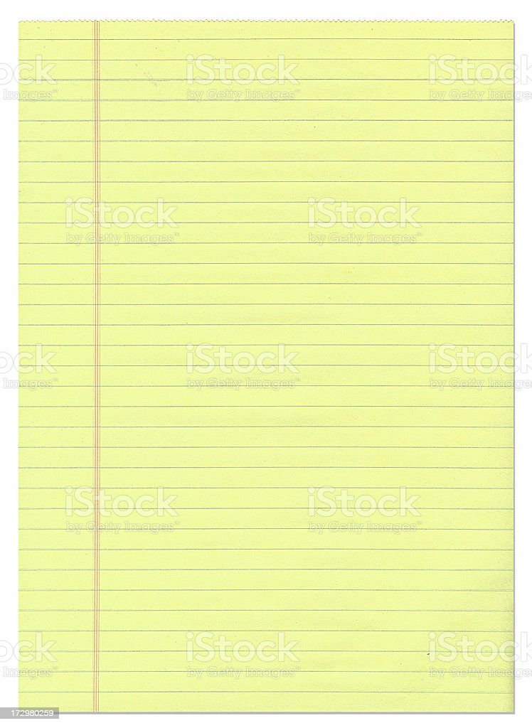 Single sheet of yellow lined paper. royalty-free stock photo