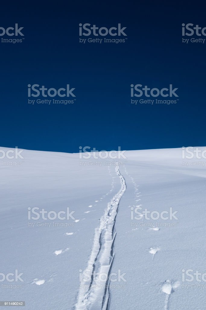 A single ski  touring track leading into distance in winter stock photo