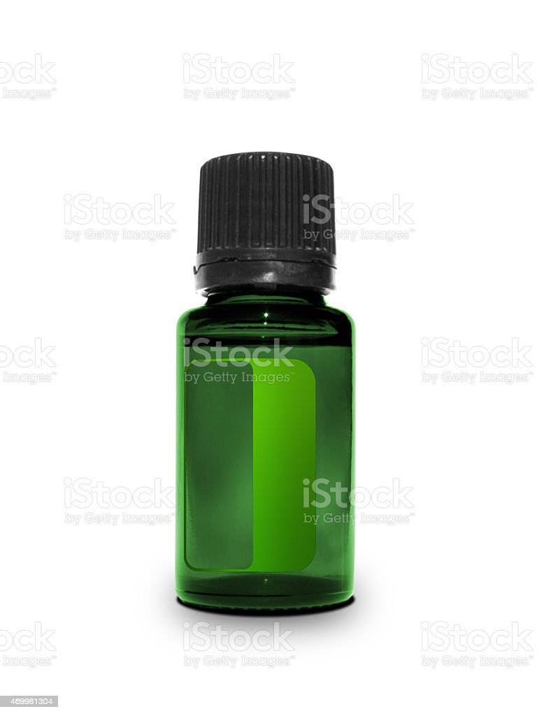 Single small bottle with drug isolated over white background stock photo