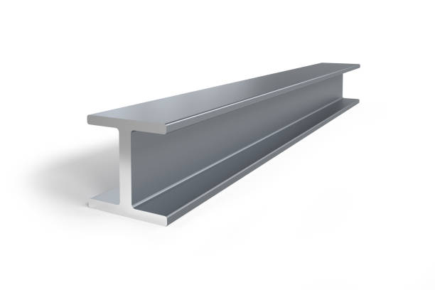 Single steel I-beam Single steel I-beam isolated on white background -  3D rendering girder stock pictures, royalty-free photos & images