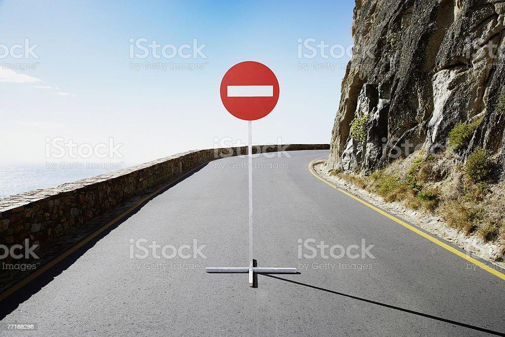 A single street sign on a desolate road stock photo