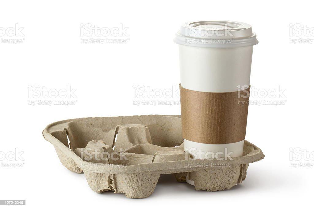 Single take-out coffee in holder royalty-free stock photo