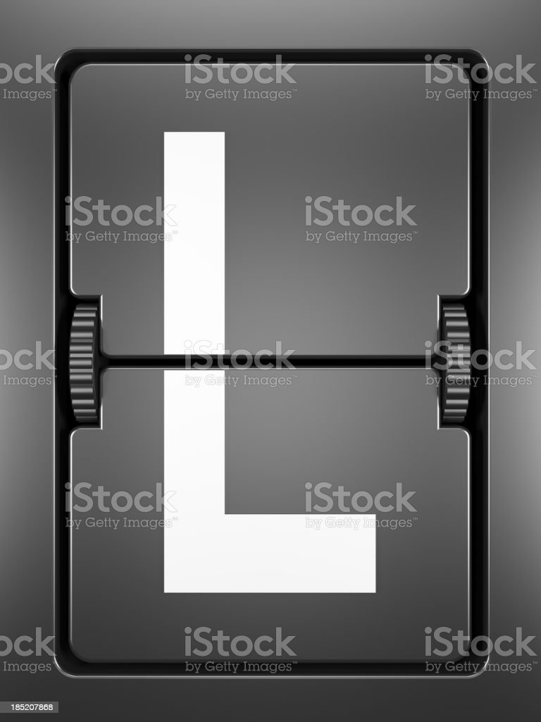 A single tile from a flight information board, letter L stock photo
