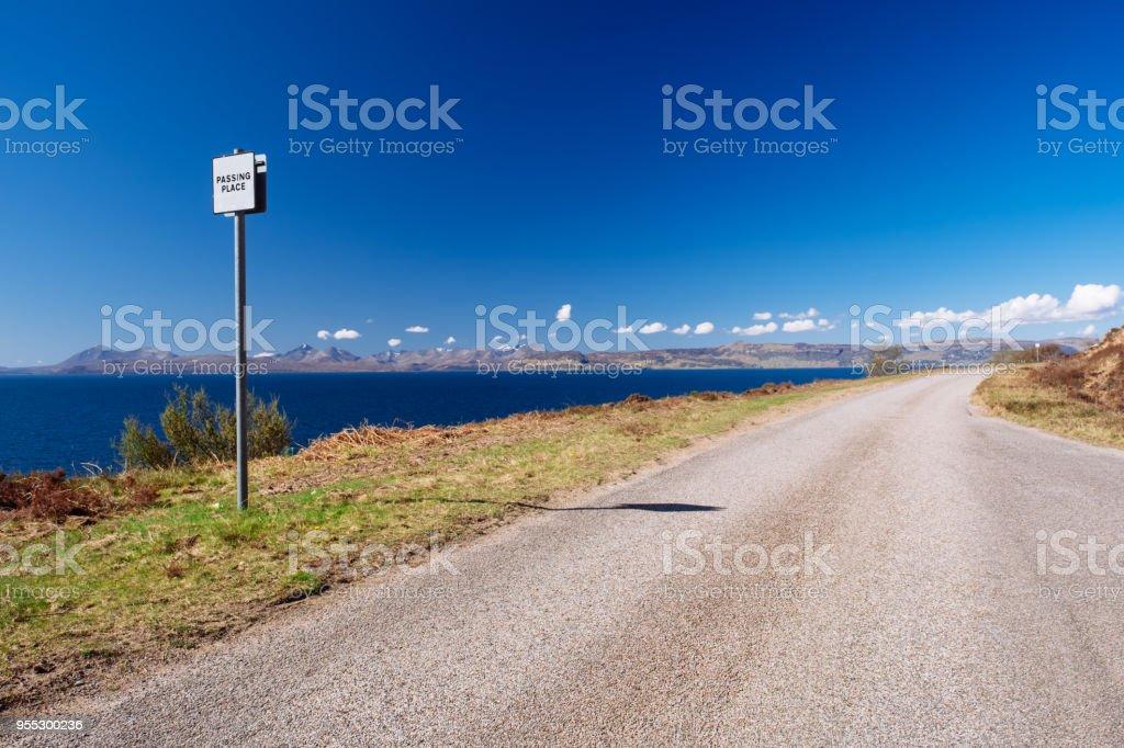 Single track road sign, Scottish Highlands stock photo