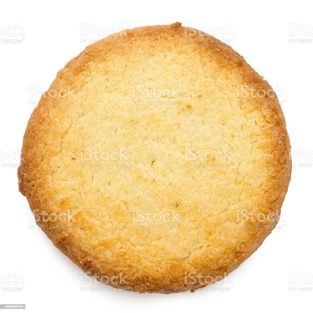 Single traditional round butter biscuit. From above. stock photo