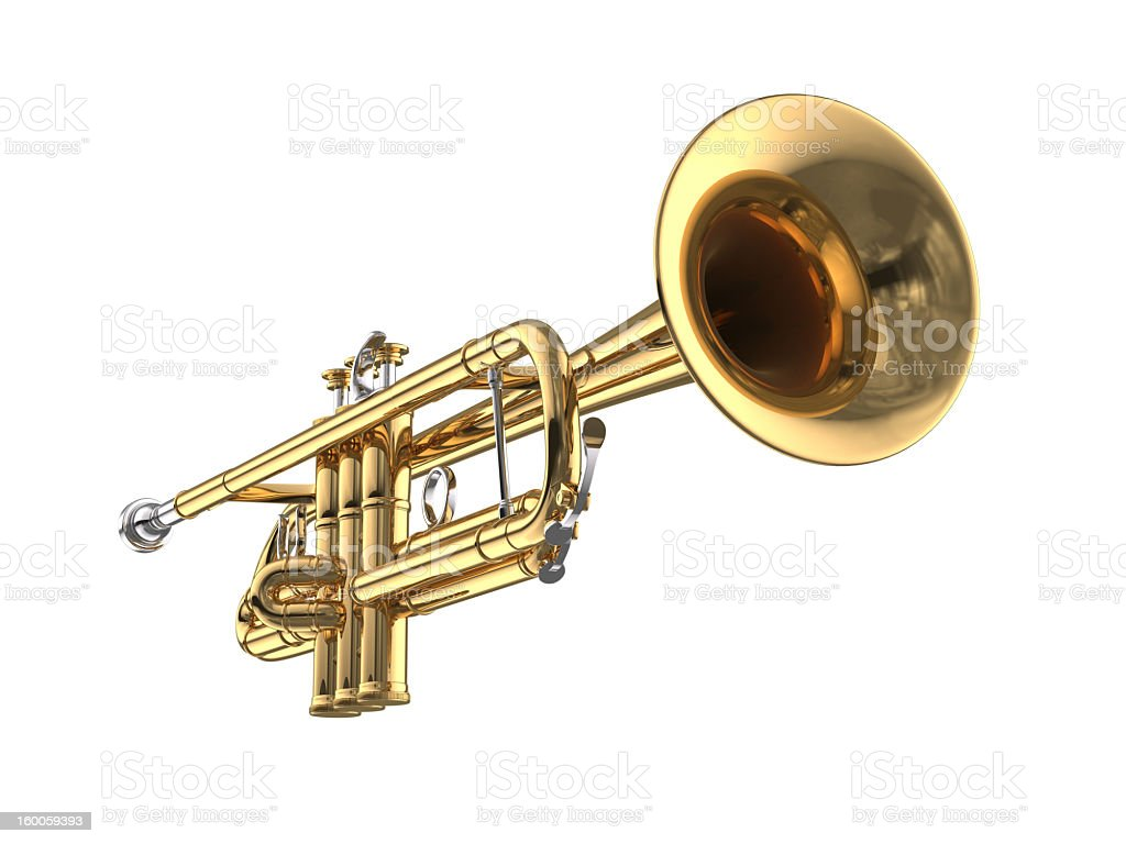 Single trumpet on white background stock photo
