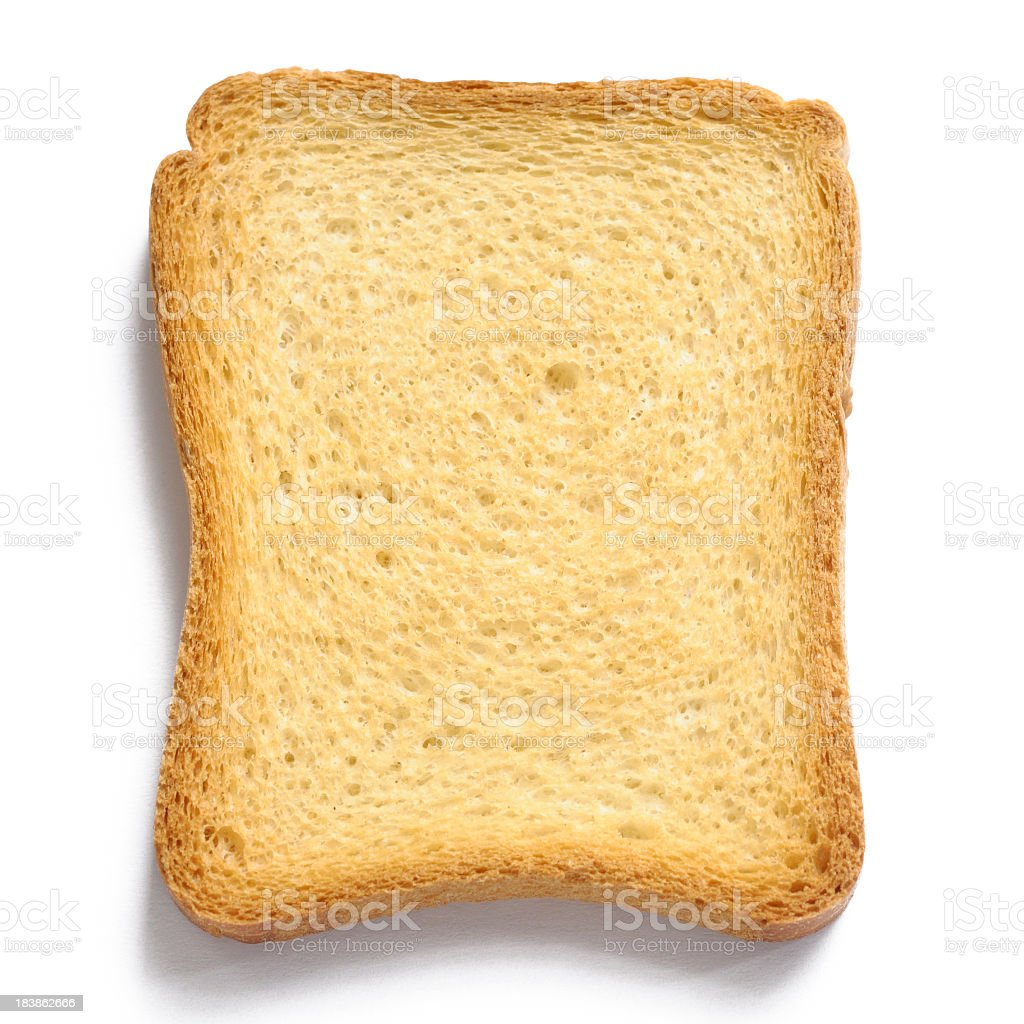 Single uniformly toasted piece of bread on white background stock photo