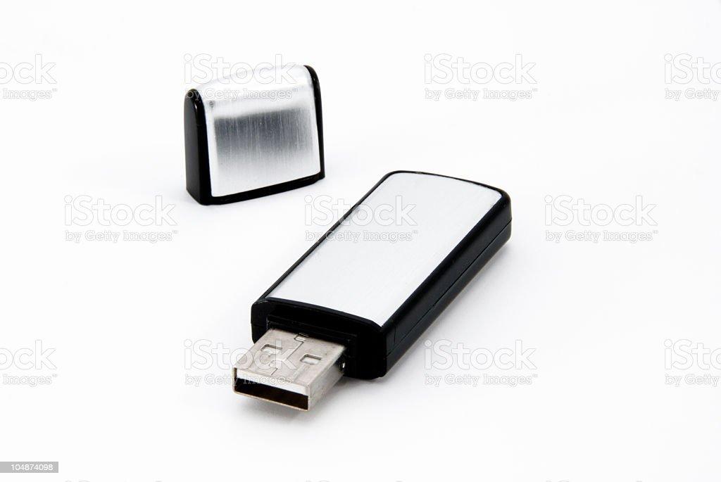 Single USB flash drive isolated on white stock photo