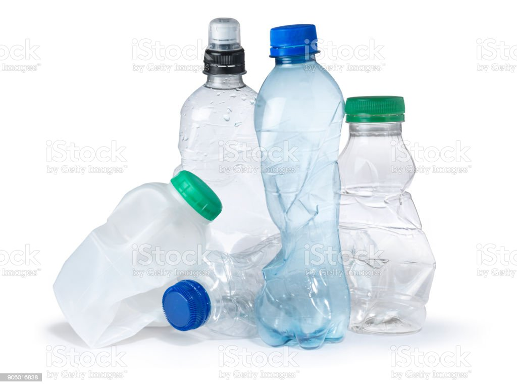 single use plastic bottle trash landfill - foto stock