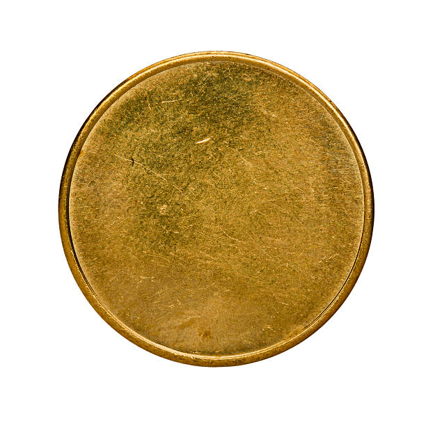 single used blank brass coin, top view isolated on white - messing stockfoto's en -beelden