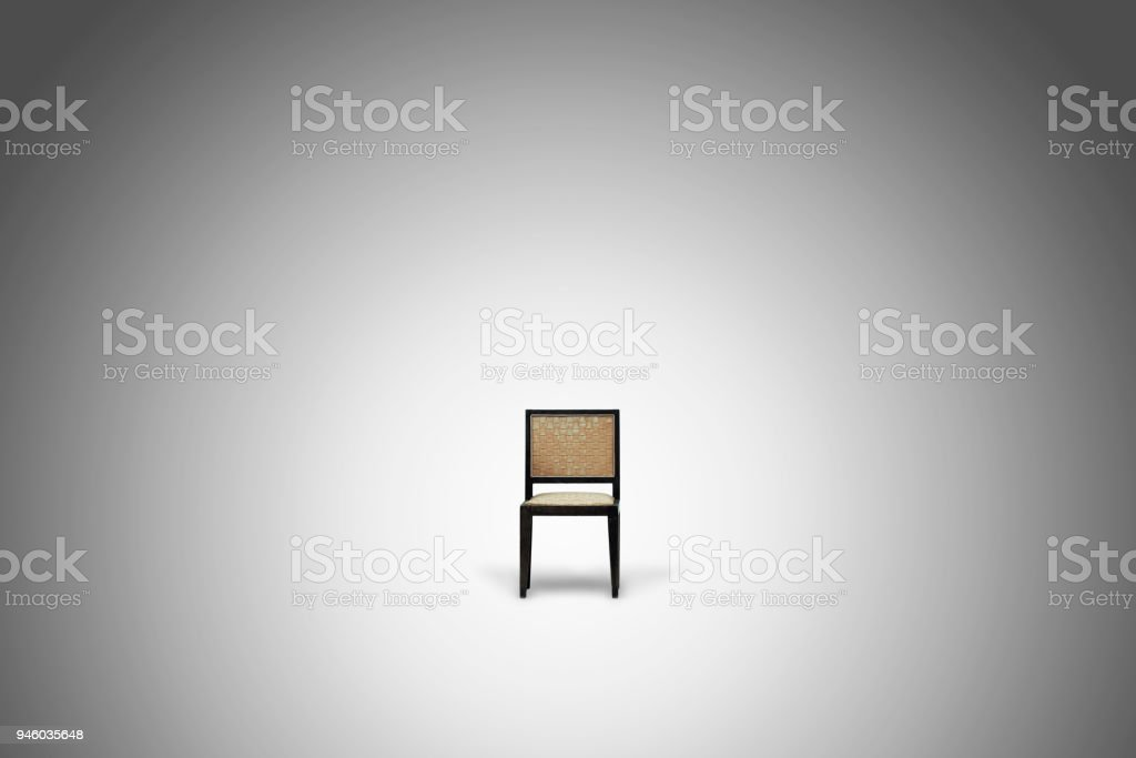 single vintage chair in white empty blank room with gradient stock photo