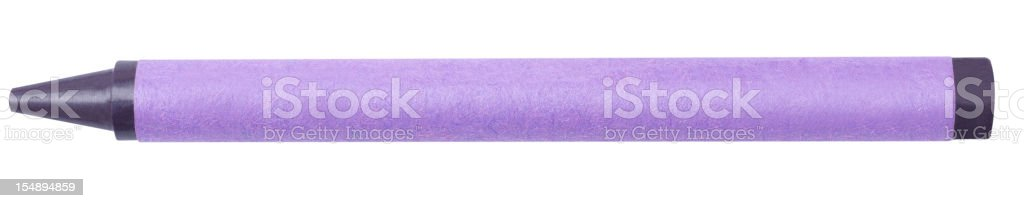 Single Violet Color Crayon Isolated on White Background stock photo