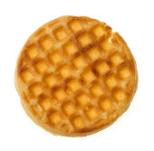 Single waffle isolated on white background--viewed from directly above.