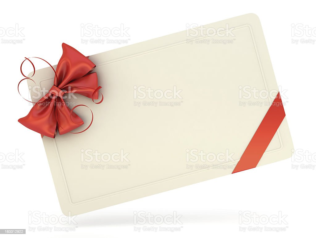 Single white blank gift card with a red ribbon and bow stock photo