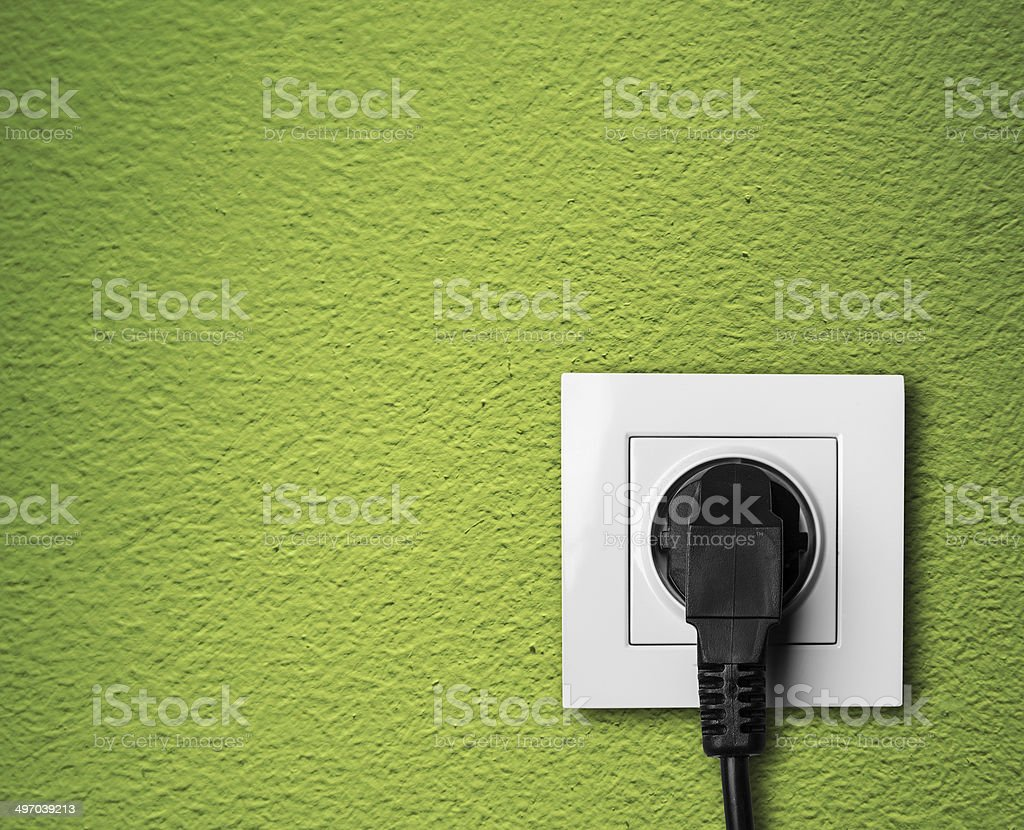 single white electric socket stock photo