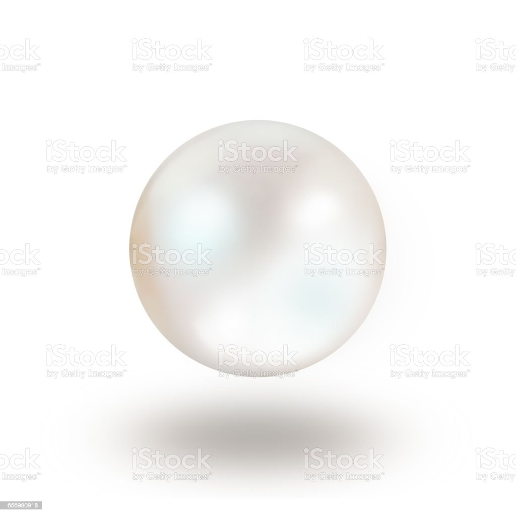 Single white natural oyster pearl with nacre mother of pearl outer isolated on white background with drop shadow stock photo